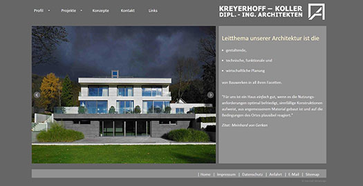 Website Architekturbüro Kreyerhoff Koller